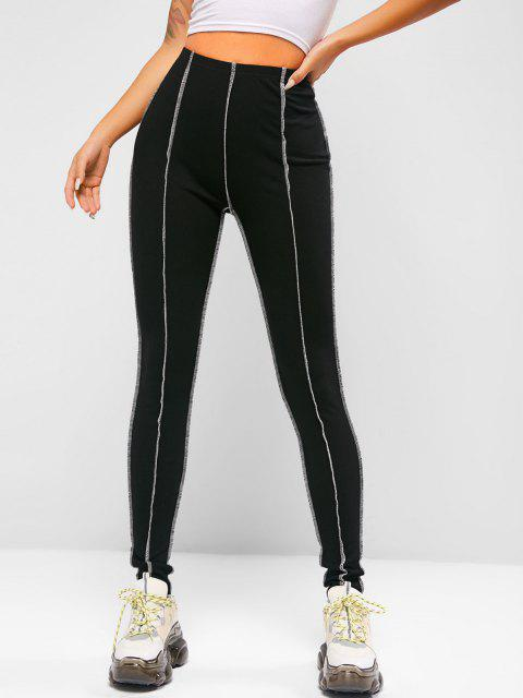 buy ZAFUL Ribbed Topstitching Leggings - BLACK XL Mobile