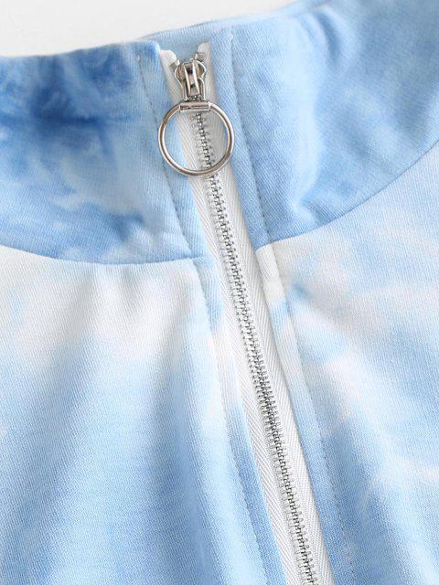 outfits Tie Dye Half Zip Elastic Hem Hoodie - LIGHT BLUE M Mobile
