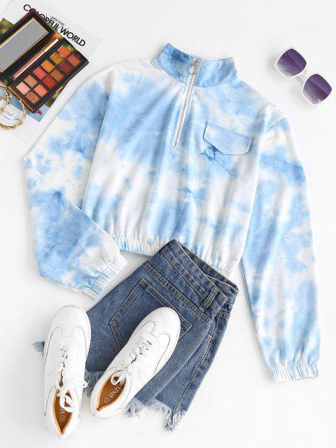 Tie Dye Half Zip Elastic Hem Hoodie - أزرق فاتح M Mobile