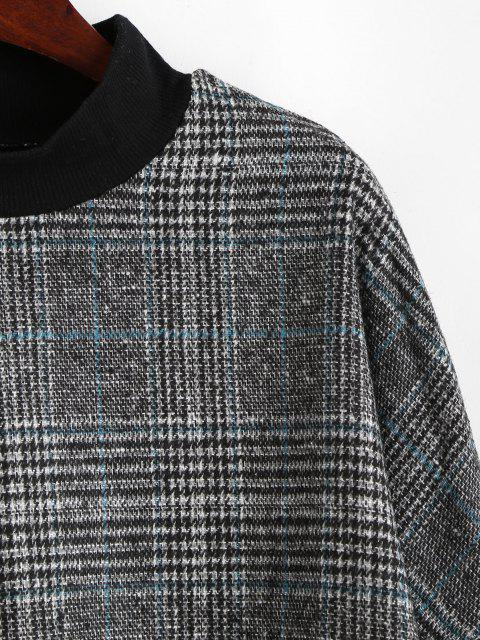 new Plaid Print Batwing Sleeve Cropped Sweatshirt - GRAY S Mobile