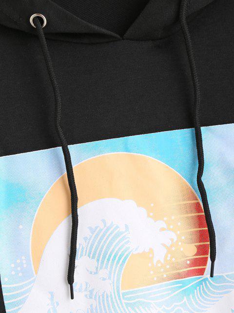 outfit Wave Sun Print Drop Shoulder Raw Hem Hoodie - BLACK L Mobile