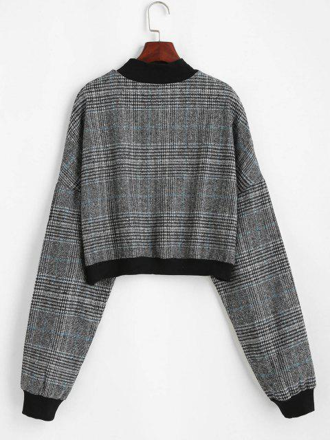 buy Plaid Print Batwing Sleeve Cropped Sweatshirt - GRAY M Mobile