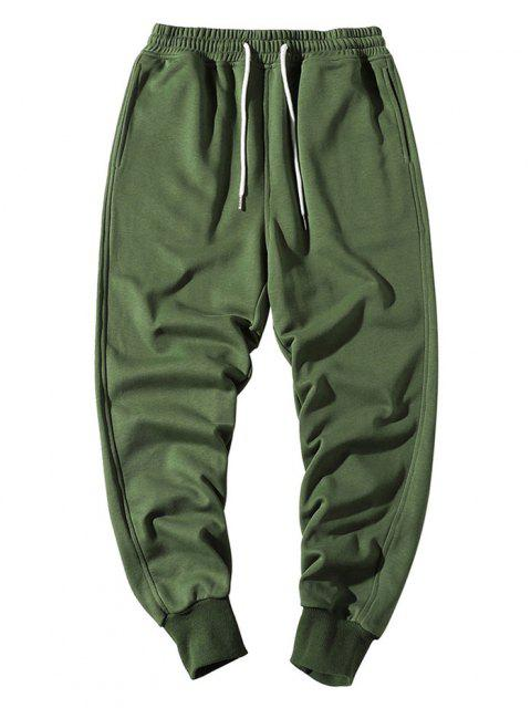 chic Elastic Waist Solid Jogger Sweatpants - ARMY GREEN XS Mobile