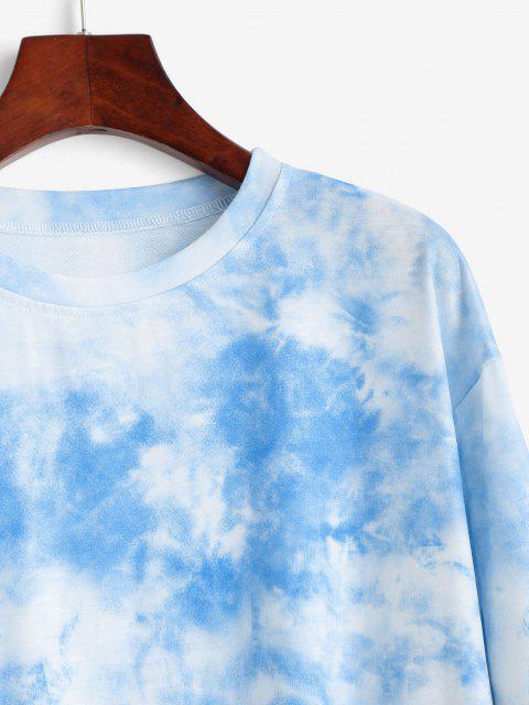 outfits Sky Tie Dye Drop Shoulder Sweatshirt - LIGHT BLUE XS Mobile