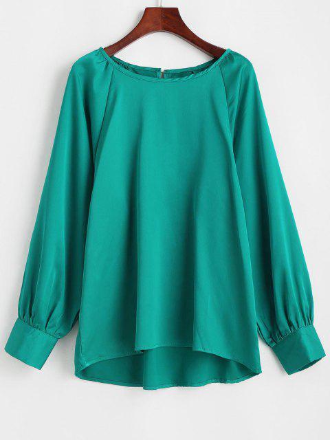 lady Satin Keyhole Back Raglan Sleeve Blouse - GREEN M Mobile