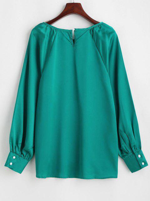 lady Satin Keyhole Back Raglan Sleeve Blouse - GREEN XL Mobile