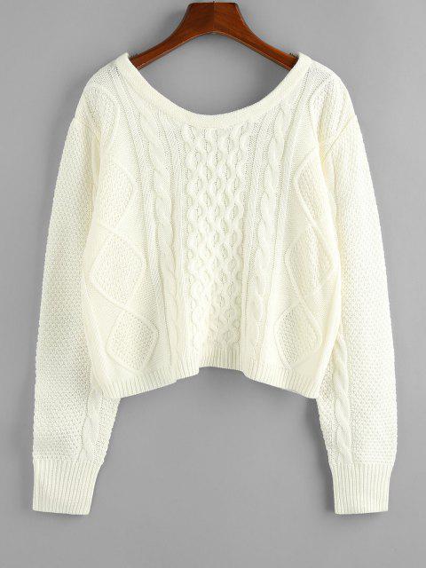 ZAFUL Zopfmuster Pullover mit U Ausschnitt - Weiß S Mobile