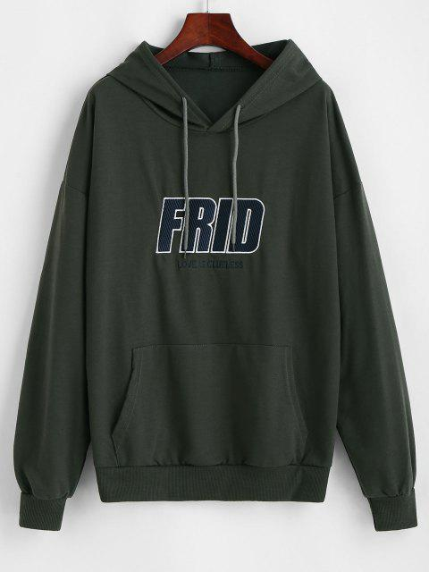 trendy Embroidered Front Pocket Oversize Hoodie - GRAY M Mobile