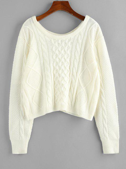 shop ZAFUL Cable Knit Scoop Neck Loose Sweater - WHITE L Mobile