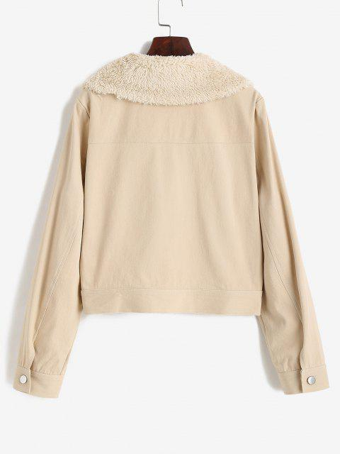 unique ZAFUL Pocket Faux Shearling Collar Shirt Jacket - LIGHT COFFEE XL Mobile