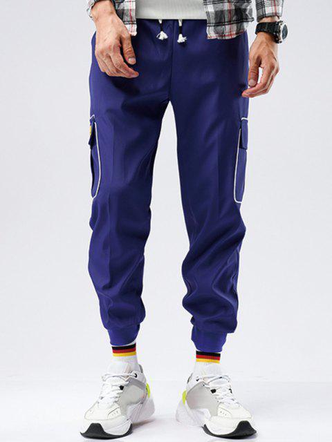 shops Striped Flap Pocket Patch Beam Feet Pants - BLUE M Mobile