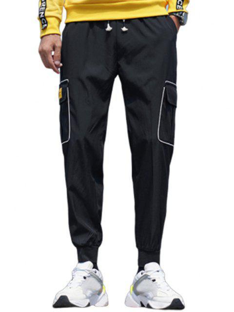 shop Striped Flap Pocket Patch Beam Feet Pants - BLACK S Mobile