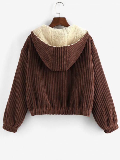 womens ZAFUL Corduroy Drop Shoulder Fleece Lined Hooded Coat - DEEP COFFEE XL Mobile