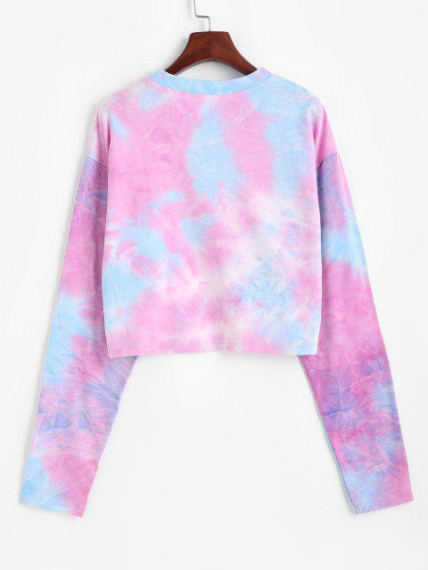 new Tie Dye Print Butterfly Embroidered Sweatshirt - MULTI L Mobile