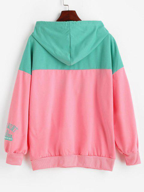 Letter Embroidered Colorblock Oversize Hoodie - متعددة-A L Mobile
