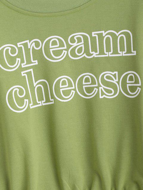 Sweat-shirtCourtLettreGraphiqueàColRond - Vert Oignon M Mobile