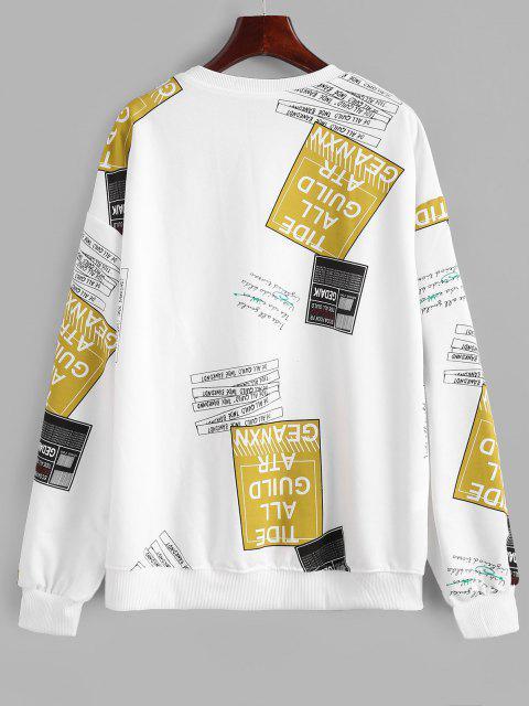 크루 넥 문자 그래픽 오버 사이즈 운동복 - 하얀 미디엄 Mobile