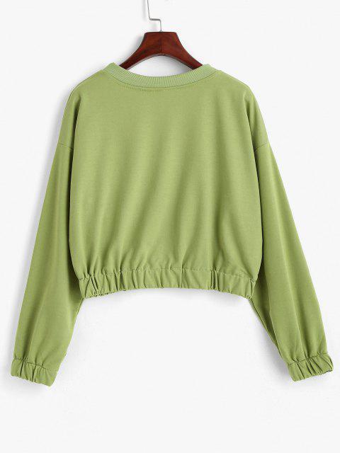 fashion Crew Neck Cream Cheese Graphic Sweatshirt - GREEN ONION L Mobile