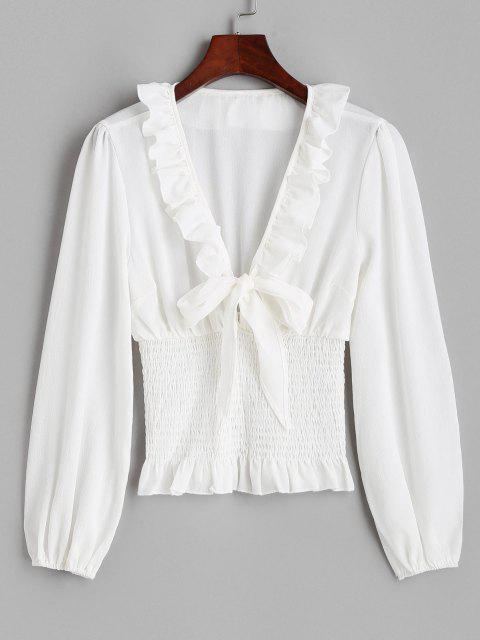 lady Ruffle Knotted Smocked Plunge Blouse - WHITE L Mobile
