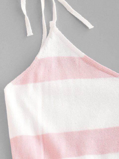 women's Two Tone Striped Tied Drawstring Knit Dress - WHITE S Mobile