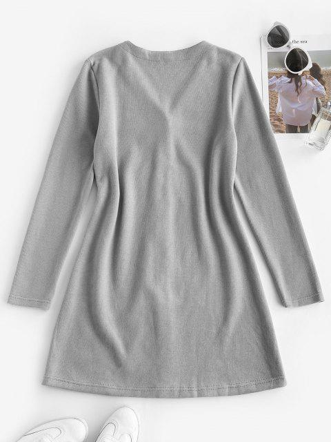 ladies ZAFUL Long Sleeve Button Up Ribbed Mini Dress - LIGHT GRAY L Mobile