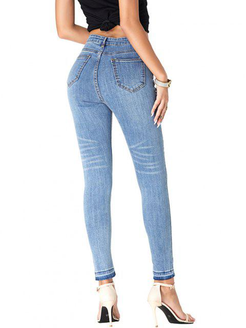 new Frayed Hem High Waisted Cat Whiskers Jeans - BLUE M Mobile