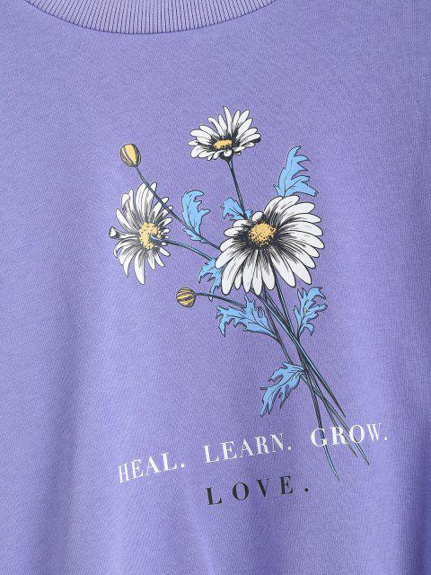 ladies Floral HEAL LEARN GROW Graphic Sweatshirt - PURPLE MIMOSA M Mobile