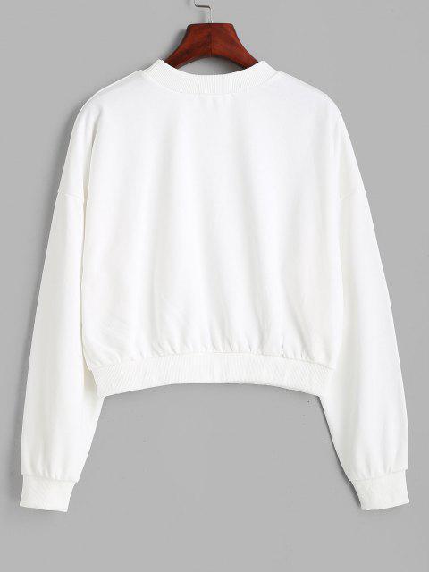 shops Mock Neck Splatter Letter Floral Graphic Sweatshirt - WHITE M Mobile
