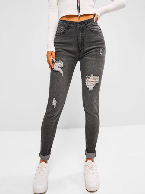 unique High Waisted Distressed Faded Skinny Jeans - BLACK L Mobile