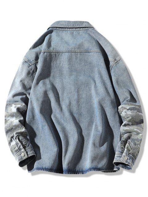 online Camouflage Patchwork Denim Jacket - BLUE L Mobile