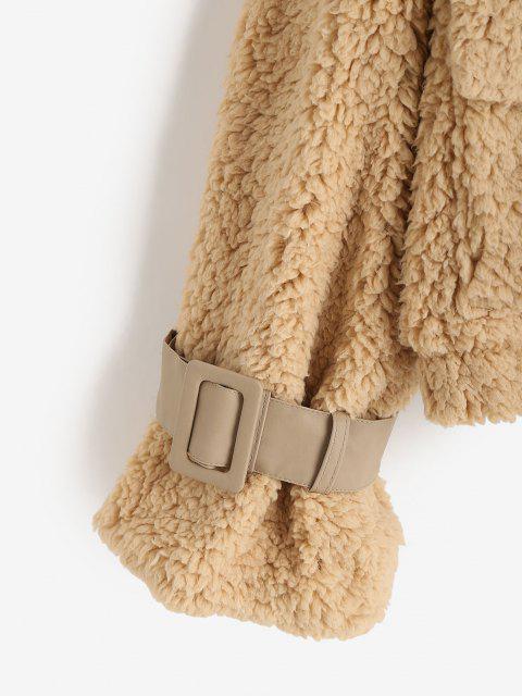 ZAFUL Hängender Schulter Taschen Schnalle Teddy Mantel - Kaffee L Mobile