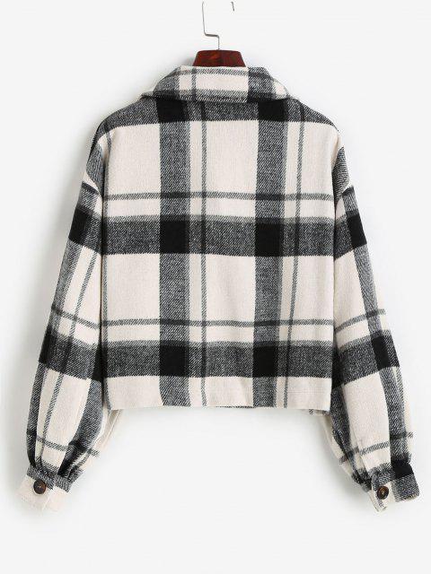 ZAFUL Pockets Single Breasted Plaid Jacket - أسود XL Mobile