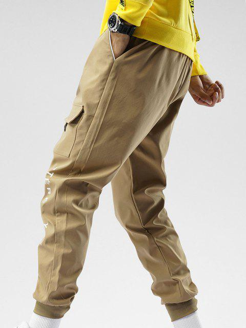 fancy Elastic Waist Letter Print Beam Feet Pants - KHAKI XS Mobile