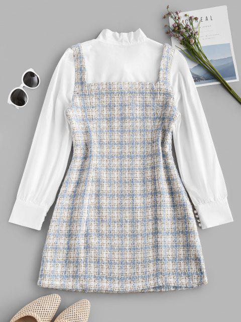 hot Plaid Pussy Bow Tweed Combo Dress - LIGHT BLUE S Mobile
