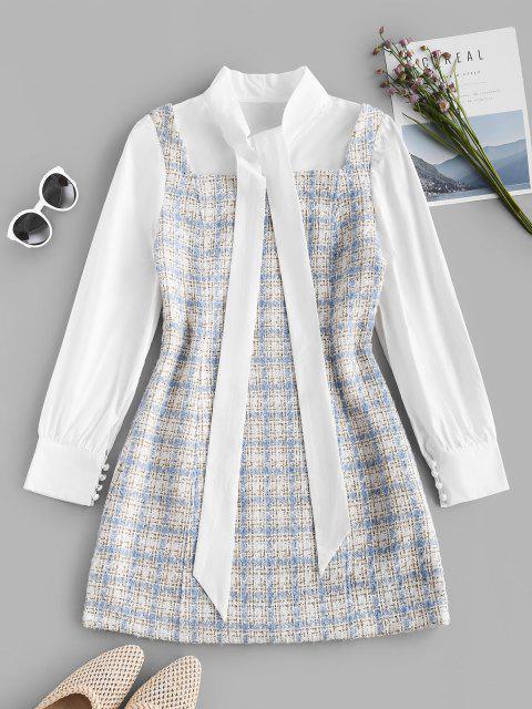 Plaid Pussy Bow Tweed Combo Dress - أزرق فاتح M Mobile