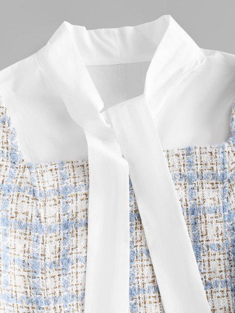 Robe en Tweed à Carreaux avec Noeud Papillon - Bleu clair L Mobile