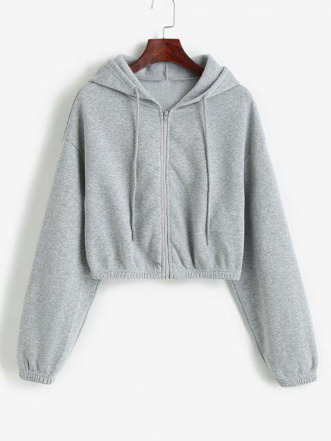 fashion ZAFUL Drop Shoulder Cropped Jacket - ASH GRAY XL Mobile