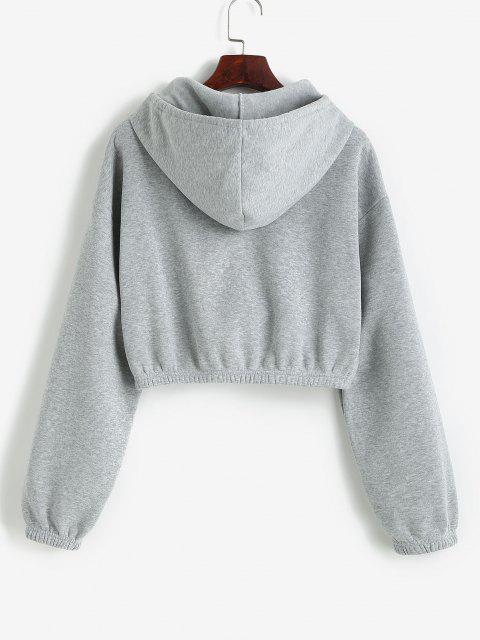 unique ZAFUL Drop Shoulder Cropped Jacket - ASH GRAY L Mobile