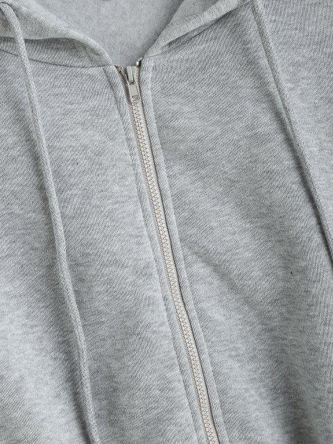 women's ZAFUL Drop Shoulder Cropped Jacket - ASH GRAY M Mobile