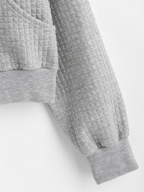 latest Drop Shoulder Pocket Zip Up Jacket - LIGHT GRAY S Mobile
