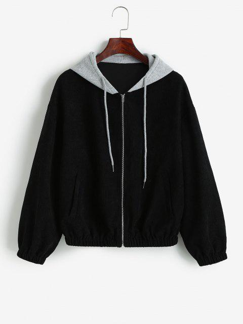 women's ZAFUL Hooded Colorblock Corduroy Jacket - BLACK M Mobile