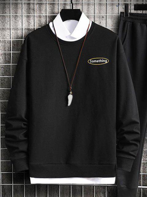 hot Crewneck 2 In 1 Put In Something Graphic Sweatshirt - BLACK S Mobile