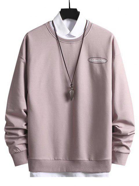 fashion Crewneck 2 In 1 Put In Something Graphic Sweatshirt - LIGHT PINK M Mobile