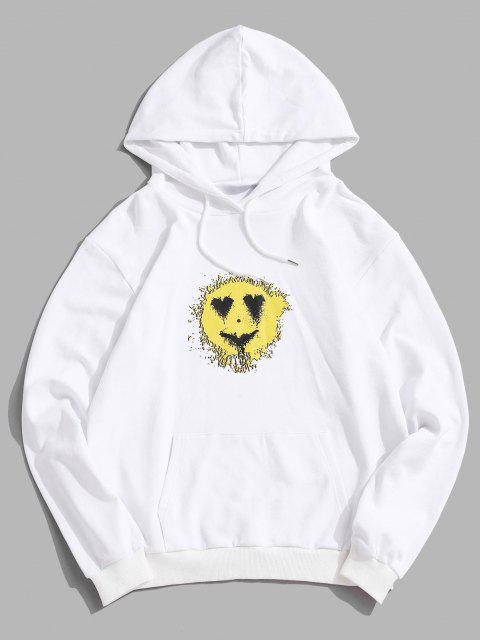 Love Heart Smiling Face Happy Pattern Hoodie - أبيض M Mobile