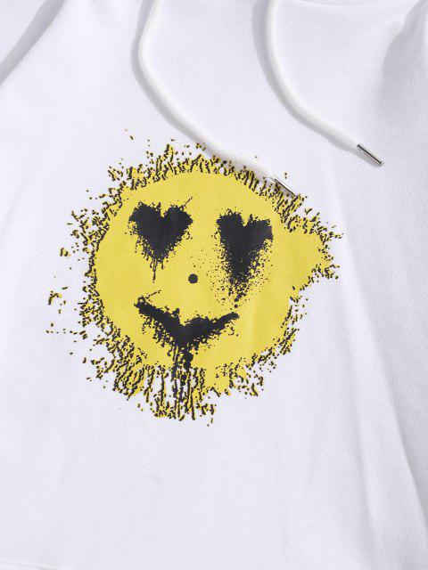affordable Love Heart Smiling Face Happy Pattern Hoodie - WHITE M Mobile