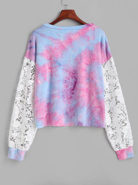 Sweat-shirt Teinté Fleur Imprimée en Dentelle Insérée - Multi XL Mobile