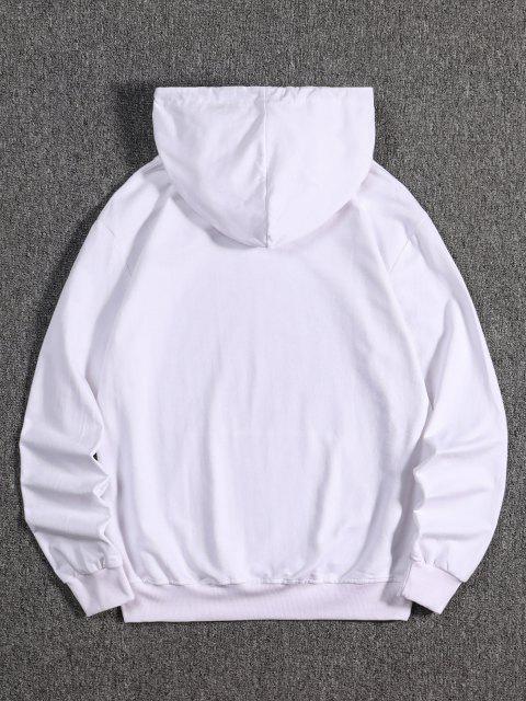 Känguru Tasche Drachen Tigerdruck Hoodie - Weiß M Mobile