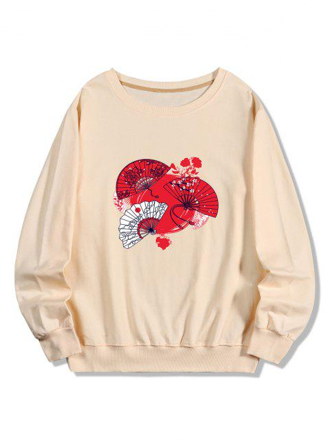 Japanischer Fan Druck Kapuze Sweatshirt - Pfirsch S Mobile