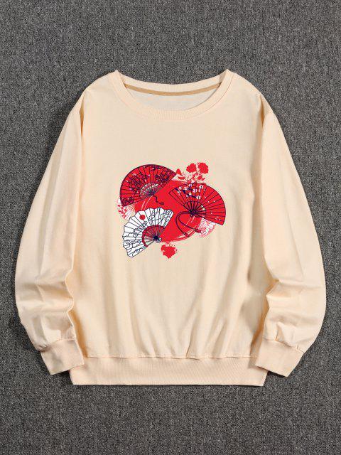 Japanischer Fan Druck Kapuze Sweatshirt - Pfirsch 2XL Mobile