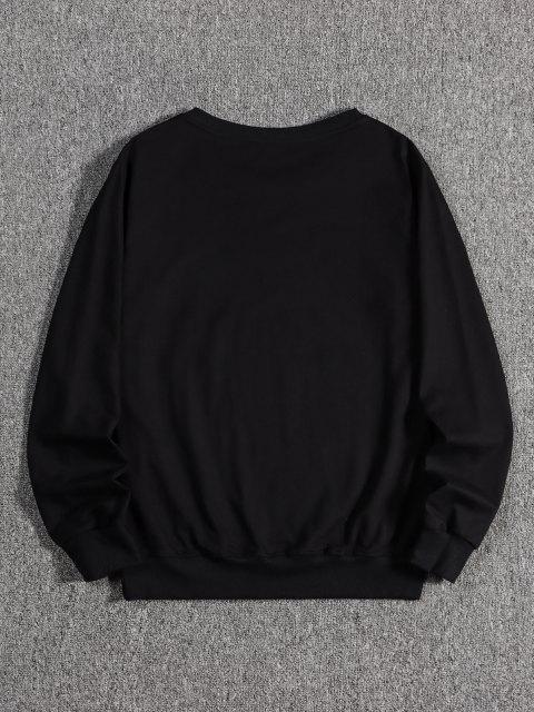 Japanischer Fan Druck Kapuze Sweatshirt - Schwarz L Mobile